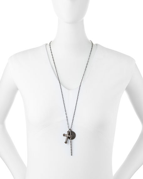 Cross, Rosary Bar & Full Moon Pave Diamond Necklace