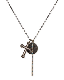 Katie Designs Cross, Rosary Bar & Full Moon Pave Diamond Necklace