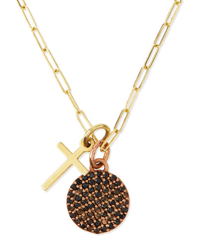 Cross & Full Moon Pave Diamond Necklace