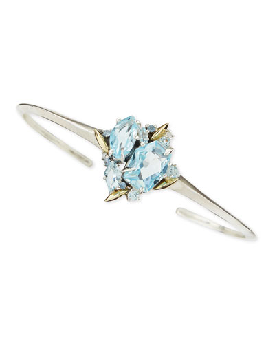 Thin Cuff with Blue Topaz, Sapphire & Diamonds