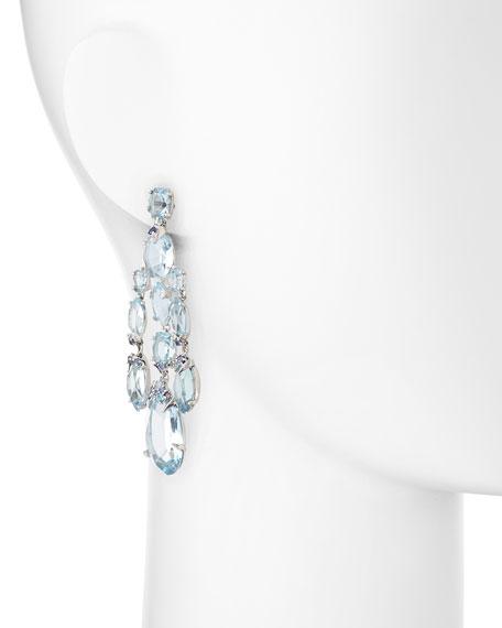 Blue Topaz Quartz Shire Diamond Chandelier Earrings