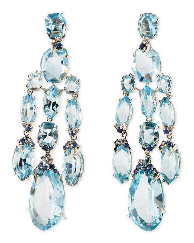 Blue Topaz/Quartz/Sapphire & Diamond Chandelier Earrings
