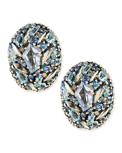Alexis Bittar Fine Blue Stones & Diamonds Button Earrings