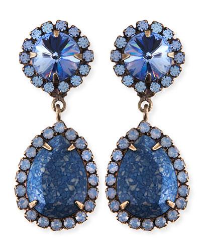 Monaco Light Blue & Crystal Statement Earrings