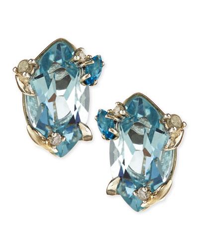 Topaz & Prong Diamond Stud Earrings