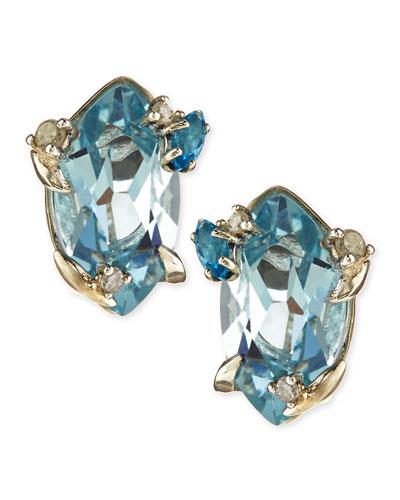Alexis Bittar Fine Topaz & Prong Diamond Stud Earrings
