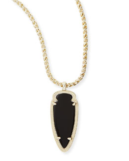 Kendra Scott Shaylee Pendant Necklace, Black Opaque Glass