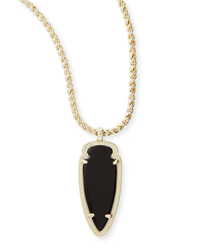Kendra Scott Shaylee Pendant Necklace, Black Opaque Glass