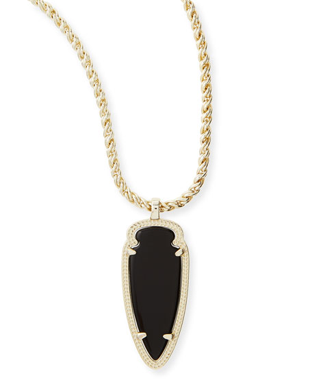 Shaylee Pendant Necklace, Black Opaque Glass
