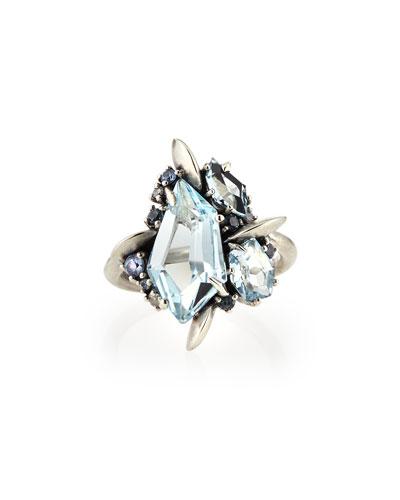 Alexis Bittar Fine Blue Topaz/Quartz/Sapphire & Diamond Ring