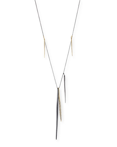 Alexis Bittar Miss Havisham Kinetic Gunmetal Spear Necklace with Crystals
