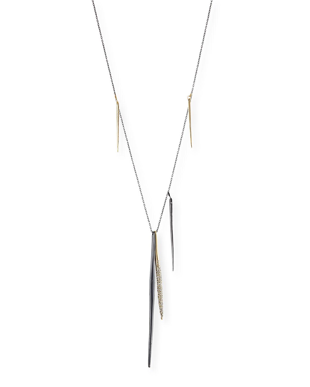 Alexis Bittar Miss Havisham Kinetic Gunmetal Spear Necklace With