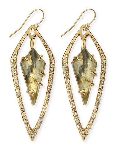 Alexis Bittar Miss Havisham Labradorite Doublet & Crystal Kite Earrings