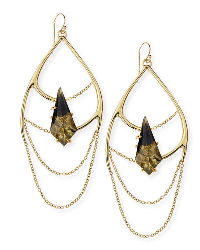 Alexis Bittar Miss Havisham Dripping Chain & Labradorite Doublet Earrings