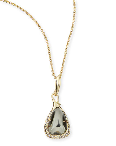 Alexis Bittar Miss Havisham Kinetic Golden Pyrite Pebble Pendant Necklace