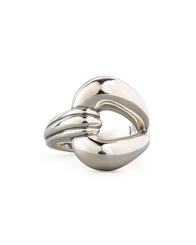 Lagos Silver Single-Loop Derby Buckle Ring