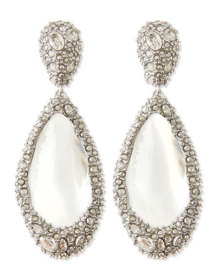 Medium Crystal-Encrusted Clear Lucite Clip Earrings