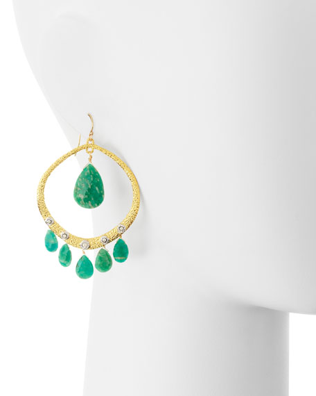 Crystal-Studded Amazonite Briolette Earrings