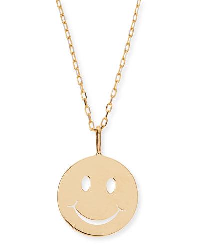 Sydney Evan 14k Yellow Gold Pure Mini Happy Charm Necklace