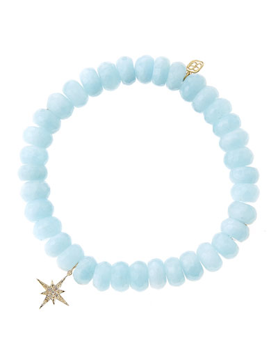 Sydney Evan Aquamarine Rondelle Bracelet with Diamond Starburst