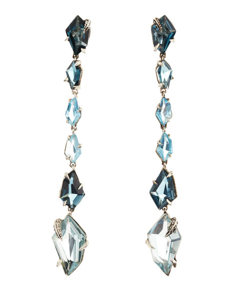 Midnight Marquise Earrings with London Blue Topaz & Quartz with Pave Diamond Prongs