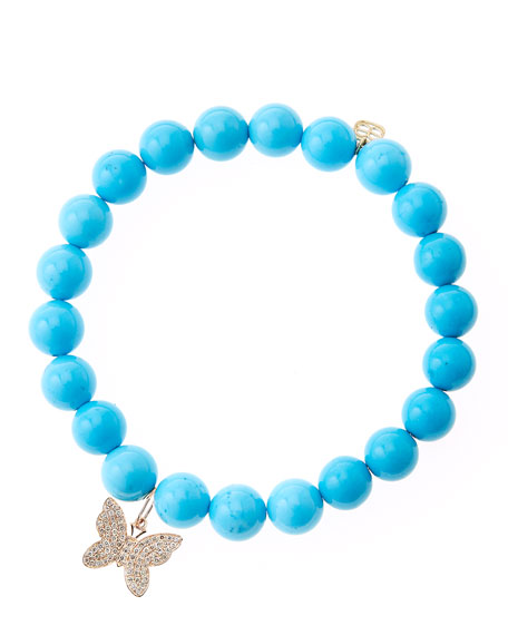 Sydney EvanBlue Turquoise Round Beaded Bracelet with 14k