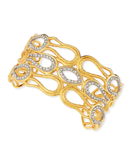 Wide Pave Crystal Scalloped Aigrette Cuff