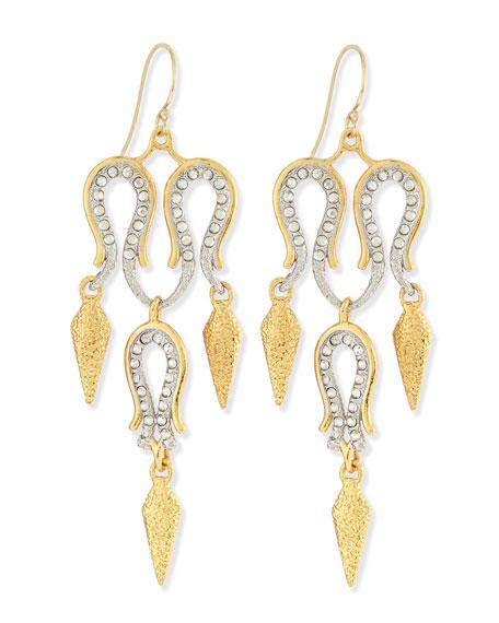 Maldivian Aigrette Crystal Chandelier Earrings