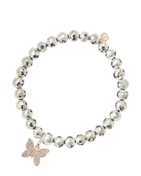 Sydney Evan Silver Pyrite Beaded Bracelet with 14k