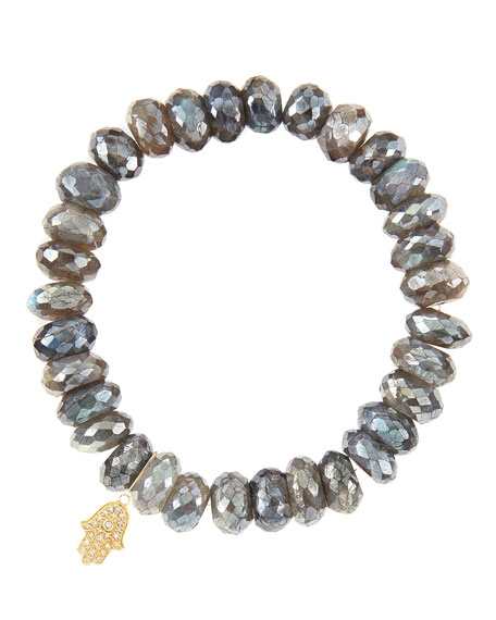 Sydney Evan10mm Mystic Labradorite Beaded Bracelet with 14k