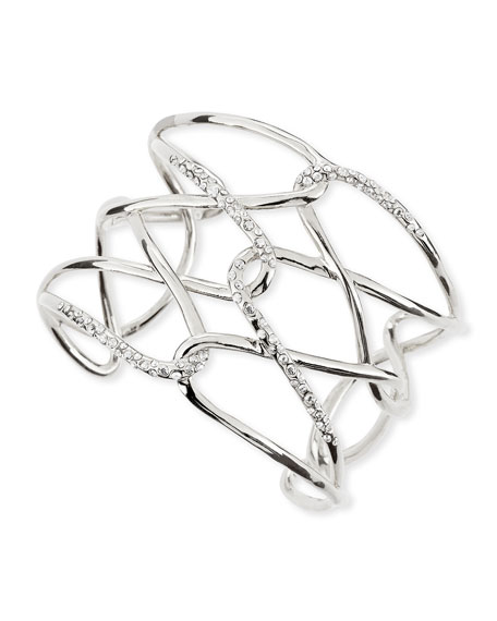 Miss Havisham Silvertone & Crystal Crisscross Barbed Cuff