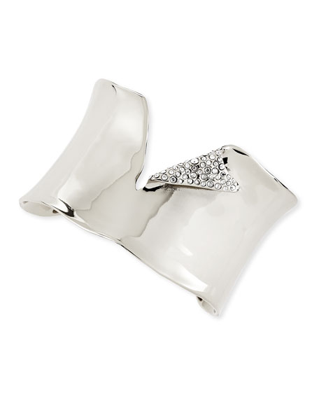 Torn Silvery Cuff with Pave Crystals