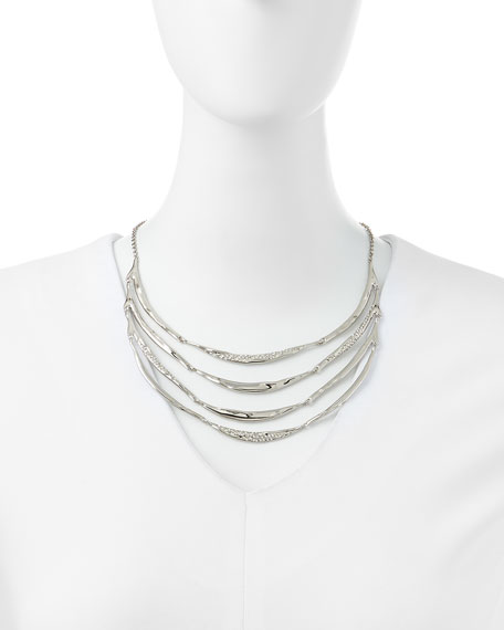 Miss Havisham Crystal-Encrusted Silvery 4-Tier Necklace