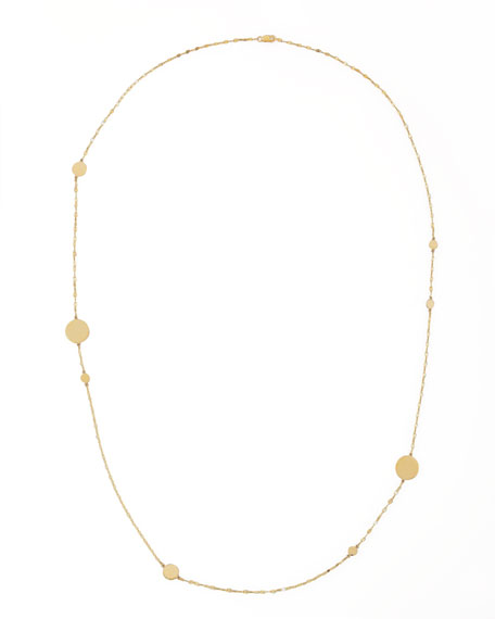 "14k Gold Long Gold Disc Necklace, 30""L"