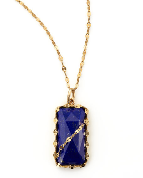 Abra Lapis Rectangle Pendant Necklace
