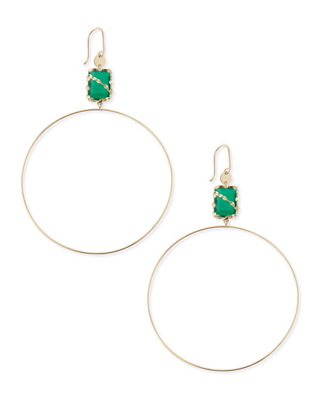 14k Green Onyx Dangle Hoop Earrings
