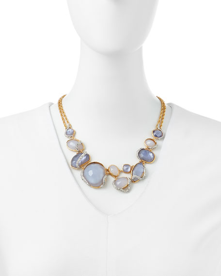 Blue Chalcedony & Iolite-Colored Glass Necklace