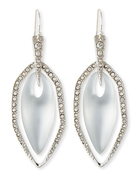 Neon Deco Silvertone Crystal-Embellished Lucite Earrings