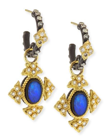 Armenta Mini Oval Opal Cross Earrings