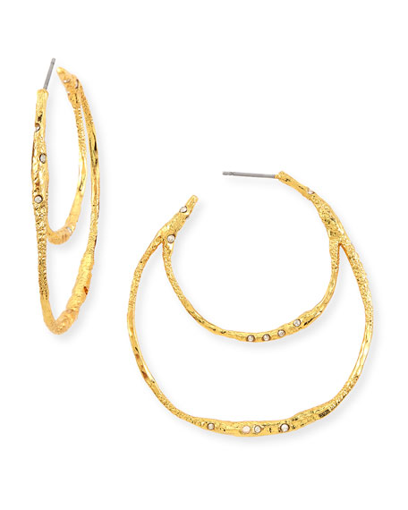 Alexis Bittar Phoenix Crystal Double Hoop Earrings