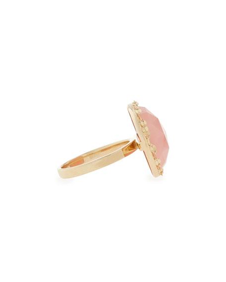 14k Gold Round Pink Opal Ring
