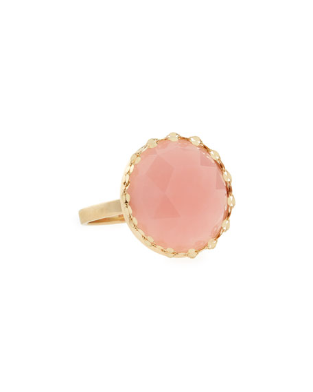 14k Gold Round Pink Opal Ring