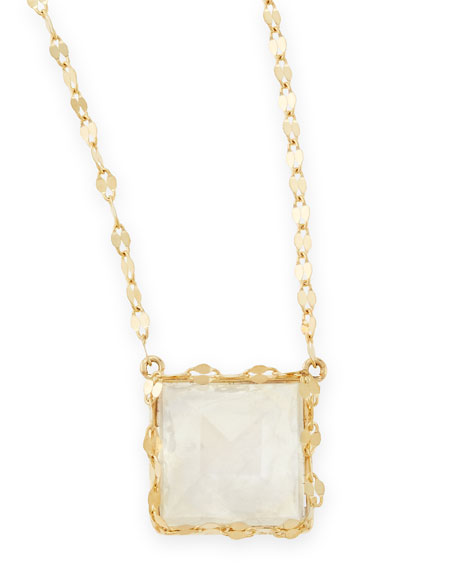 Dream 14k Gold Square Rainbow Moonstone Charm Necklace
