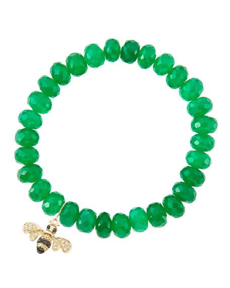 Sydney Evan 8mm Faceted Green Onyx Beaded Bracelet
