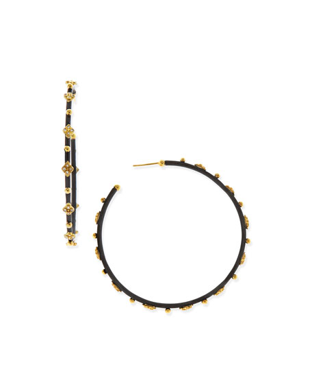 Armenta Diamond Crivelli Cross Large Hoop Earrings