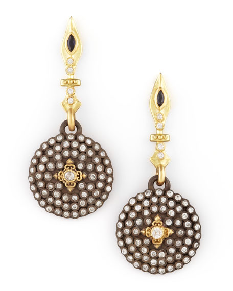 ArmentaSmall Pave Diamond Shield Drop Earrings