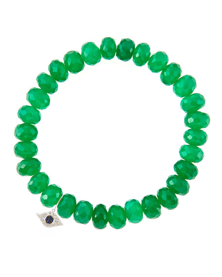 Sydney Evan8mm Faceted Green Onyx Beaded Bracelet with