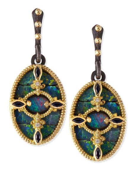 Midnight Boulder Opal & Diamond Earrings