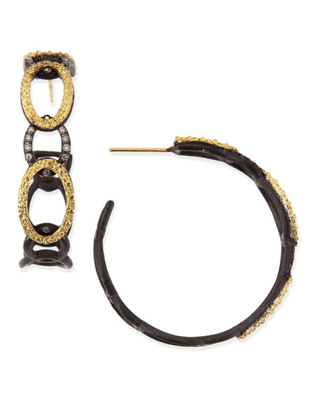 Midnight & Yellow Gold Circle Link Hoop Earrings with Diamonds