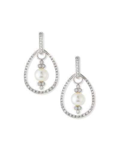 JudeFrances Jewelry Classic White Gold Pave Diamond Teardrop Earring Frames